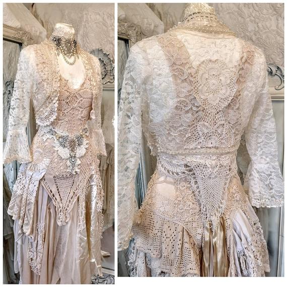 Bruiloft Bolero kant, bruids kant vest, witte kant, rauwe lompen, een van een soort bruiloft,