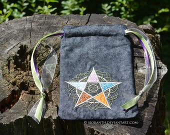 Embroidered Pouch - Elements Pentacle