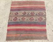 39.9 x 47.2 in. Antique Tribal Wool Rug vintage kilim rug CC
