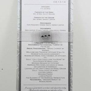 Wedding program ~ printed on four sides ~ CUSTOM MADE ~ square card stock tied with a ribbon.