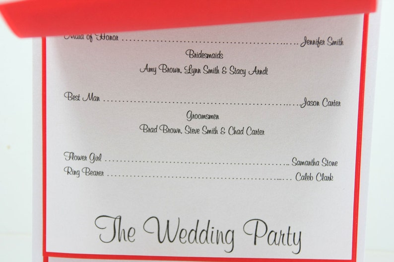 Christmas holiday Wedding program ~ printed on four sheets ~ CUSTOM MADE ~ tiered look and tied with a ribbon.