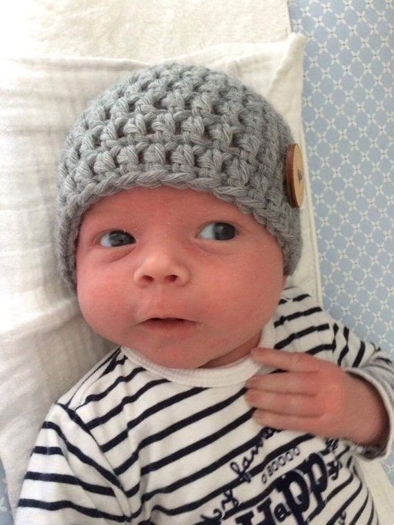 Crochet baby beanie grey unisex newborn hat baby gift  4efec38ff3c4