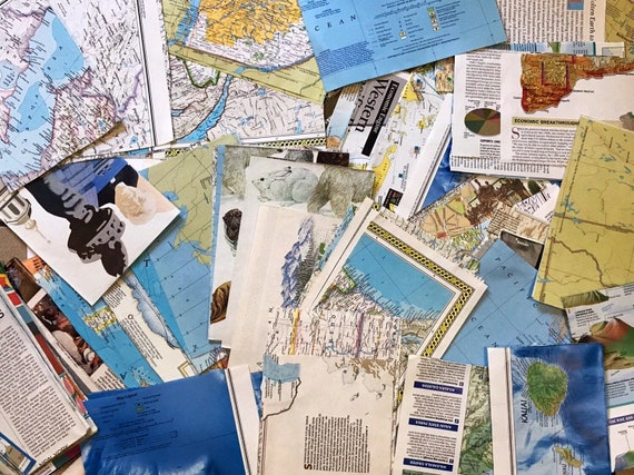 Vintage Map Paper for Crafts. Map Pieces. Old Maps. Decoupage,  Scrapbooking, Paper Crafts.