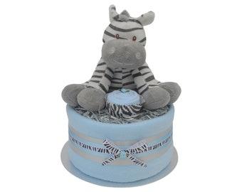 Grey Zebra Unisex Baby Nappy Cake Plush Giraffe or Zebra Toy ...