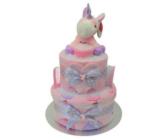 Dragon 1 Tier Nappy Cake Purple New Baby Shower Maternity Gift