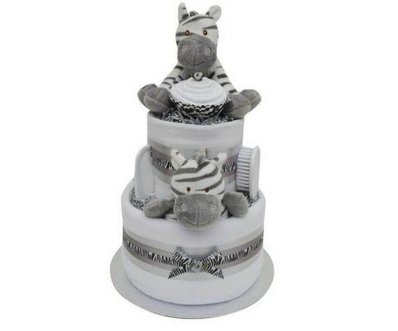 Cute Silver Elephant Themed Square Mini New Baby Nappy Cake Baby Shower Gift