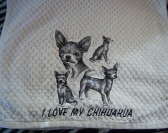 Chihuahua Embroidery Hand Towel  For the dog lover. Free shipping