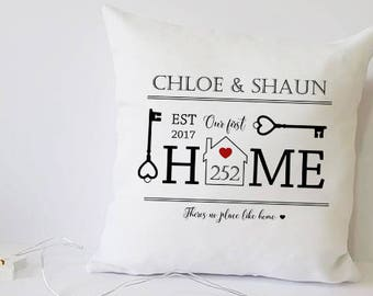 first home gift, first home, first home personalized gift, cushions, personalised cushion, house warming gift for new home, pillow