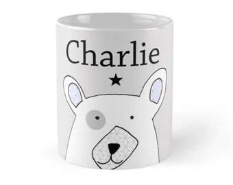 personalised mug, coffee mug, gift for men, mens gift, boyfriend gift, gift for boyfriend, bear mug, bear illustration mug, mens present