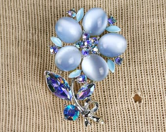 Lisner Flower Brooch Moonglow Baby Blue AB Rhinestones