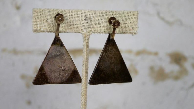 Free US Shipping Vintage Screw Back Earrings Abalone Triangle Sterling Silver Alpaca Mexico