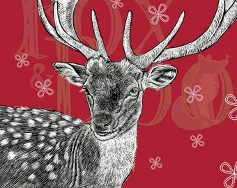 Traditional stag Christmas card, Quirky, illustration, seasons greetings, deer, Xmas