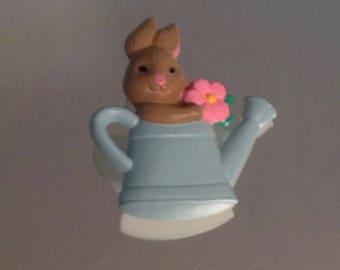 Hallmark Easter Bunny Brooch Vintage Hallmark Pin Bunny In Watering Can