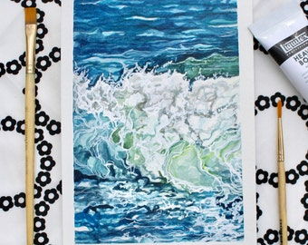 "Breaking Wave - 5""x7"" Original watercolor and acrylic painting"