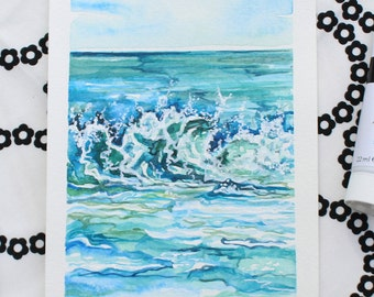 "High Tide - 5""x7"" Original Watercolor and Acrylic Painting"