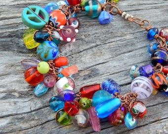 Cha cha bracelet, glass bead bracelet, gift for mom, colorful bracelet, cluster bracelet, wire wrapped, copper bracelet, beaded bracelet