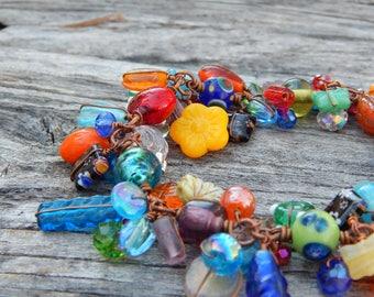 Cha cha bracelet, beaded bracelet, gift for mom, whimsical bracelet, wire wrapped, copper bracelet, cluster bracelet, colorful bracelet