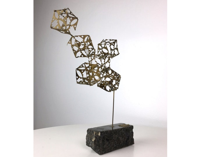 Vintage Mid Century Modern Brutalist Brass Cube Sculpture On Stone Base 1970's