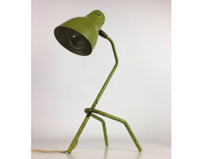 Vintage Green Grasshopper Table Desk Lamp Mid Century Modern Greta Grossman Era