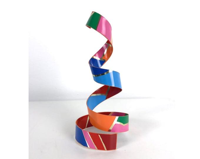 Signed Dorothy Gillespie Spiral Ribbon Enamel Aluminum Sculpture
