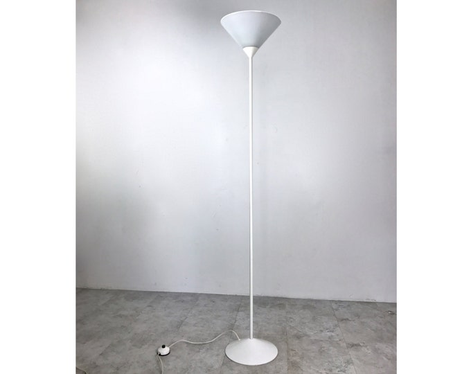 Vintage Mid Century Modern White Torchiere Glass Cone Floor Lamp France 1970's