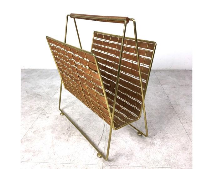 Tony Paul Interlace Collection Walnut Brass Magazine Rack 1950's