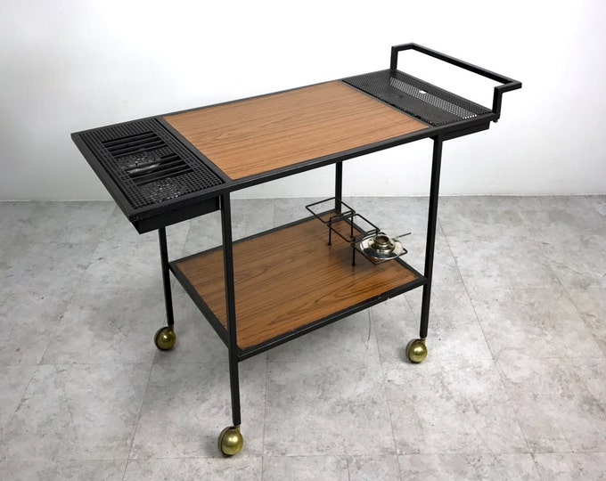 Rare Vintage Mid Century Modern Iron Serving Bar Cart Trolley W/Warmers 1950's