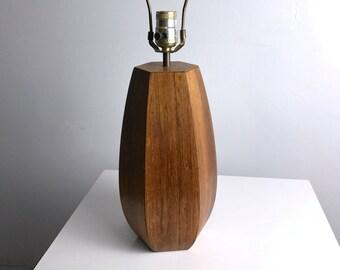 Vintage Mid Century Danish Modern Rosewood Hexagon Sculptural Table Lamp