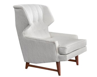 Vintage Mid Century Sculptural Wingback Lounge Chair in White Boucle