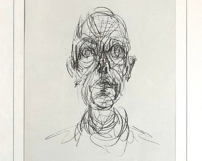 Alberto Giacometti Head of a Man Lithograph from Derriere le Miroir 1961