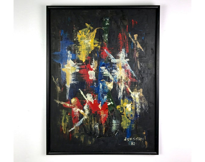 Vintage Modern Signed Abstract Original Painting Black & Primary Colors