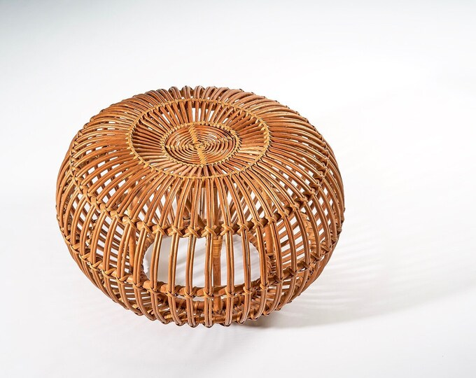Pair Available Franco Albini Rattan Pouf Ottomans 1960s