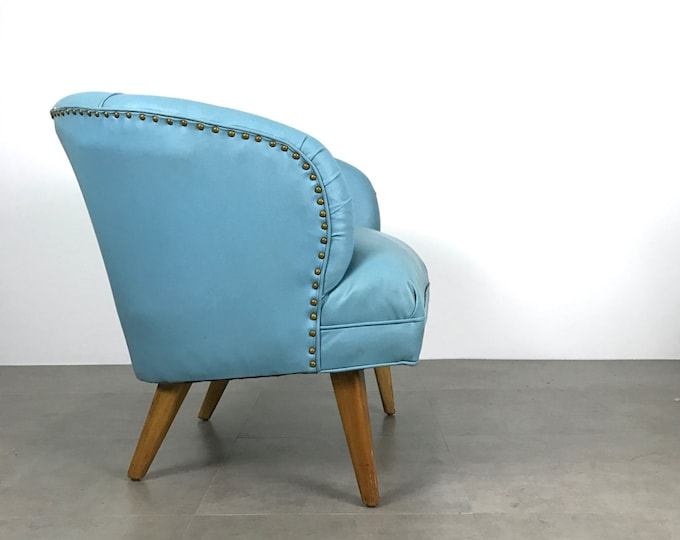 Vintage Mid Century Danish Modern Tufted Blue Wide Barrel Back Lounge Chair