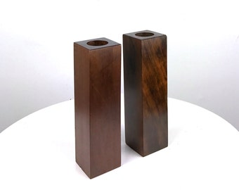 Vintage Tall Square Rosewood Bud Vases Candle Holders Mid Century Modern