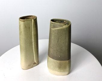 Pair Vintage Coiled Glazed Studio Pottery Vases Signed