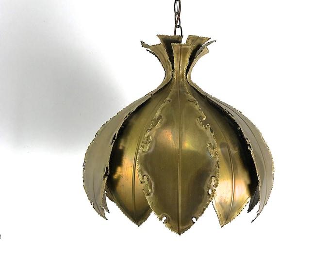 Svend Aage Holm Sorensen Brass Brutalist Pendant Light, 1970's