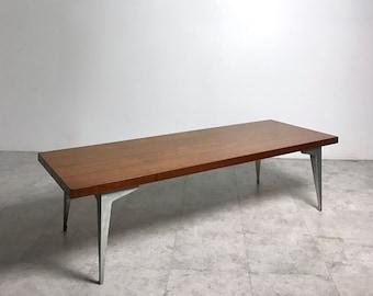 Rare Vintage Lane Prophecy Walnut Aluminum Coffee Table Mid Century Modern 1960s