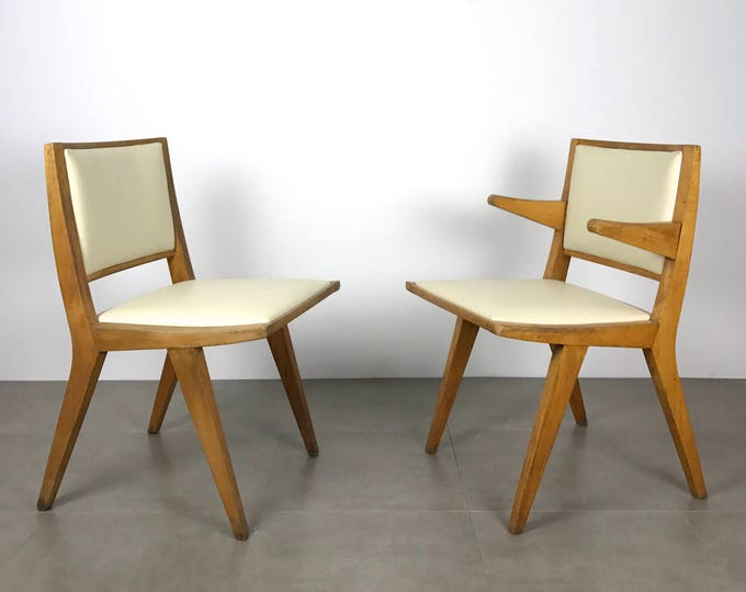 Pair Vintage Modernist Wooden Chairs by Daystrom, 1950's