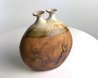 Rare Warren Hullow Studio Pottery Stoneware Weed Pot Vessel Mid Century