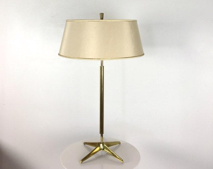 Rare Vintage Gerald Thurston Lightolier Brass Star Table Lamp Mid Century Modern