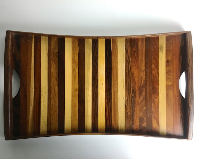 Vintage Don Shoemaker Tessellated Mixed Exotic Wood Serving Tray Mexico Mid Century Modern