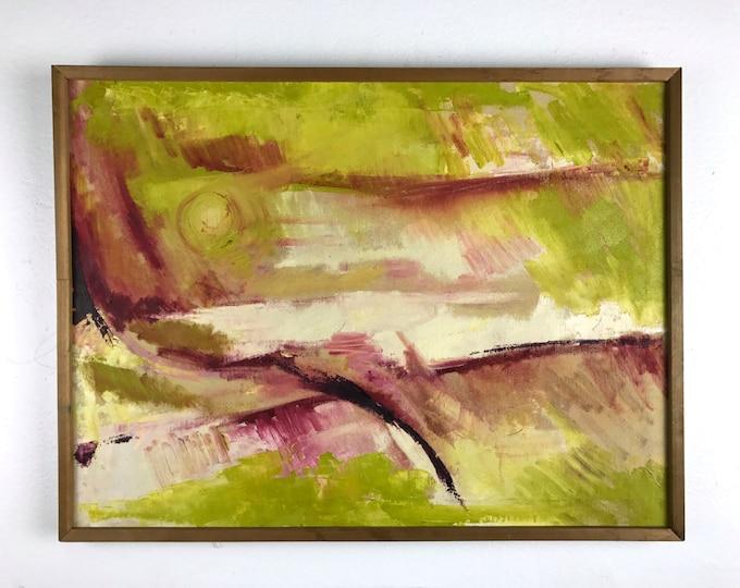 25x19 Vintage Original Oil Abstract Painting Mid Century Modern Green Purple