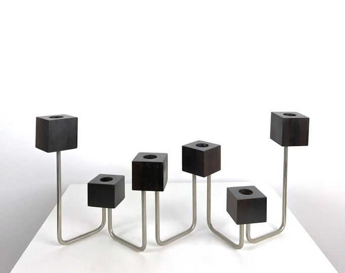 Vintage Danish Modern Rosewood Cube Articulated Candelabra