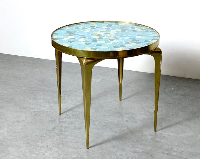 1950s Modern Brass Mosaic Tile End Table