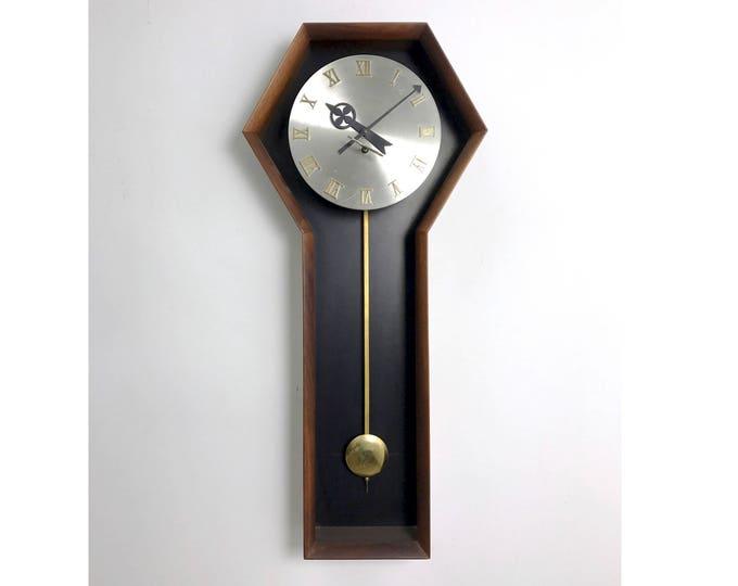 Arthur Umanoff for Howard Miller Walnut Clock 1970's