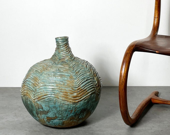 Large Mid Century Studio Pottery Round Floor Vase 1970s