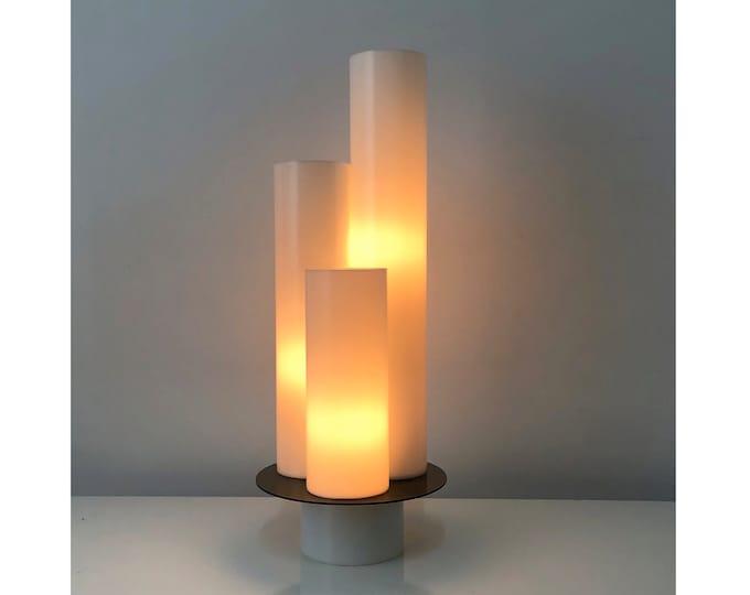 Vintage White Three Cylinder Lucite Lamp, 1970's