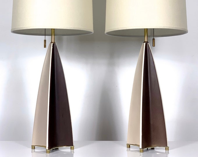 Rare Ceramic Parabolid Fin Table Lamps by Gerald Thurston 1950's