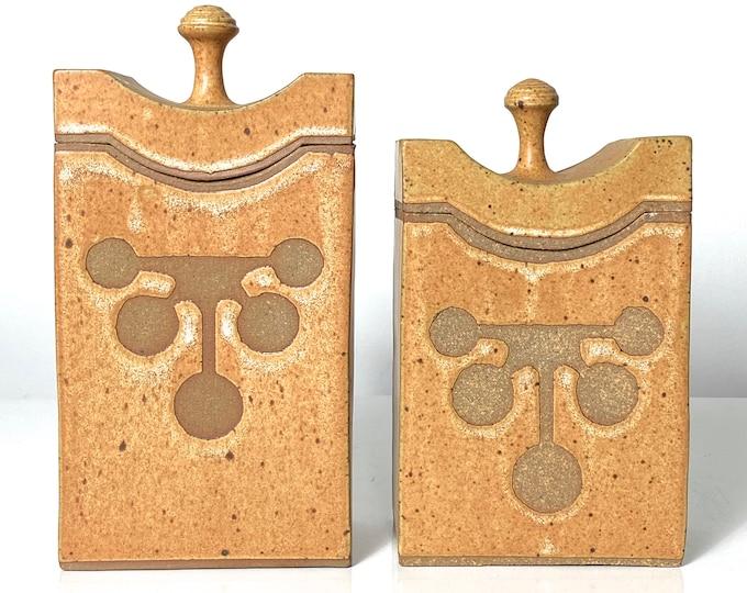 Pair Studio Pottery Canisters by David Petrakovitz 1970s