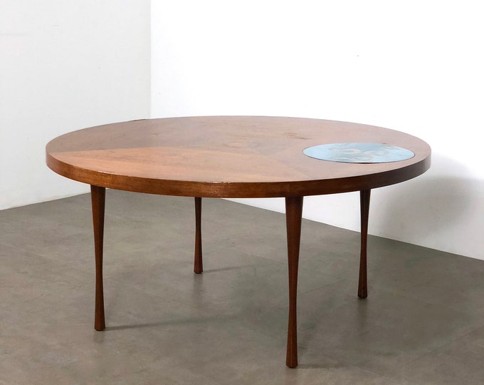 Vintage Walnut & Enamel Round Coffee Table 1960's